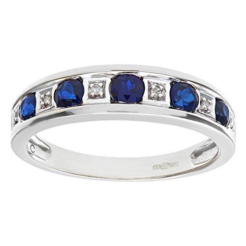 Naava Women's Round Brilliant Sapphire and Diamonds 9 ct White Gold Eternity Ring - Size L