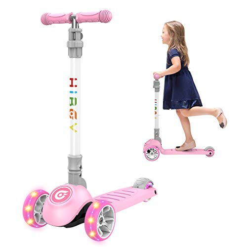 Hiboy hidy Scooter for Kids, 3 Wheel Scooter, Adjustable Height & Flashing LED Wheels for Toddler, Kick Scooter for Kids, Boys & Girls, Suitable for Age 3-12 (Blue)