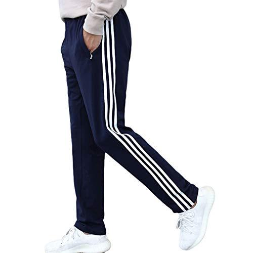 kunfang Pantalons Survêtement Décontractés Hommes Pantalons Basiques Survêtement Bas Rayé sur Le Côté Respirant Sportswear Pantalons Big Code