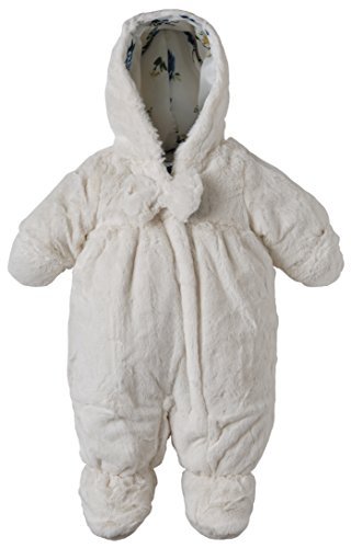 Rothschild Baby Girls Hooded Newborn Faux Fur Footed Snowsuit with Hand Foldover - Vanilla (Size 6/9M)