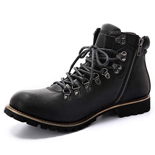 [Arkmiido] ブーツ メンズ エンジニア チャッカ ワーク 靴 防水 ヒール サイド ジップ ショート boots 革 バイク アウトドア マウンテン シューズ(ブラック,26)