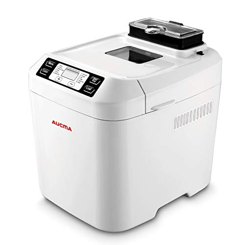 Automated Breadmaker Breadmaker 2 Loaf Sizes, Gluten Free, 2LB, 550W, 12 Automatic ProgramsBread Maker Machine with Nut Dispenser, White