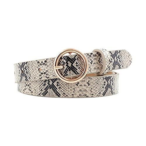 UKKD Cinturón Mujer Moda Leopardo Cinturón Mujer Serpiente Cebra Estampado Fino Caballo Cintura Cinturón PU Cuero De Cuero Anillo De Oro Cinturones De Hebilla para Damas-N787-Snake