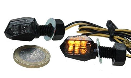 LED Micro Mini Blinker Tiny getönt (Smoke Grey) für Motorrad, Quad, Roller mit E-Nummer, Aprilia, BMW, Honda, Kawasaki, Suzuki, Yamaha