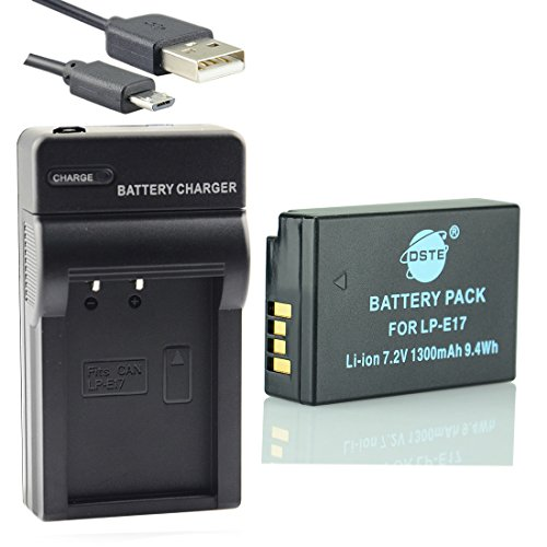 DSTE LP-E17 Li-Ion Batería Traje y Cargador Micro USB para Canon EOS M3 750D 760D 8000D 200D 250D Kiss X8i X10 Rebel T6i T6s SL3