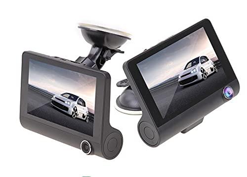 Autokamera, Dashcam Gleichzeitige Aufnahme DREI Kameras 4 Zoll 3 Objektiv Auto DVR 1080P Auto Kamera...