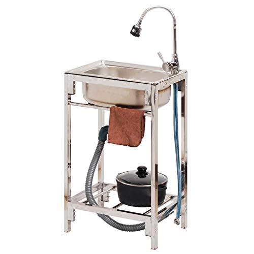 Lavabo Semplice in Acciaio Inossidabile con lavello Mobile da Campeggio con Supporto con Sistema di drenaggio Completo per ripostiglio Adatto per Lavanderia in Cucina Interna ed Esterna