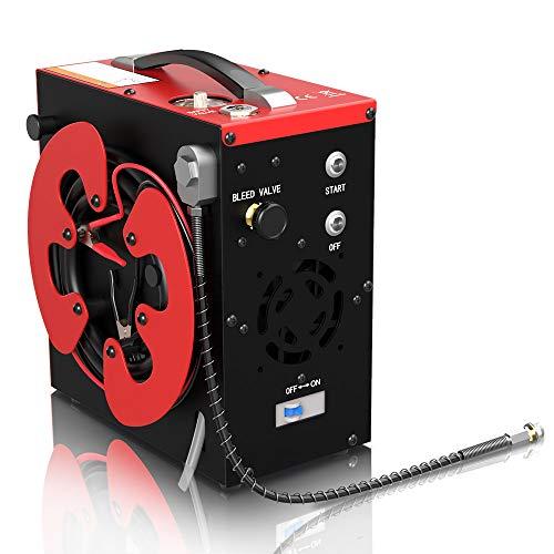 GX CS3 Tragbarer PCP Kompressor, Automatischer Stopp,4500Psi / 30MPa/300bar, ölfrei, mit Wasser-Öl-Filter,Angetrieben durch 12V DC Autobatterie oder Home 220V AC, scuba luftkompressor