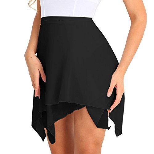 TiaoBug Falda Asimétrica de Gasa para Mujer Falda con Correas Ajustables de Cintura Falda de Patineta Danza Ballet Golf Tenis Mujer Chica Negro Talla única
