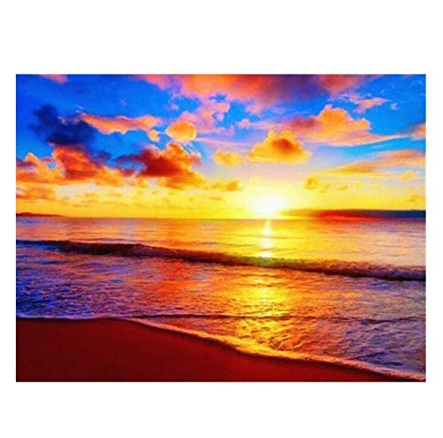 qazwer Diamond Painting 5D Diy Kit Cross Stitch Sunset Seaside Dusk Beach Landscape Full Square Drill Mosaic Art Home Decoration Gift 40X50 cm