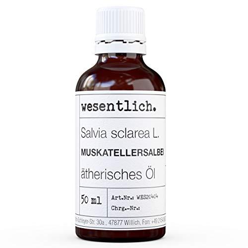 wesentlich. Aceite esencial de salvia moscada – Aceite esencial – 100% natural (botella de cristal) – entre otros, para lámpara aromática y difusor (50 ml)