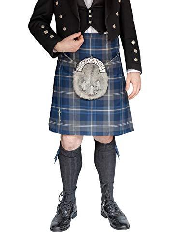 "Kilt Society Mens 8 Yard Scottish Kilt Persevere Moss Navy Tartan 44"" to 48"""