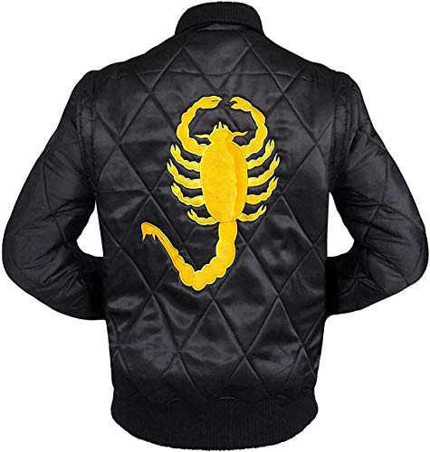 EU Fashions Drive Scorpion Jacket Ryan Gosling Driver Bomber Black Satin Jacket
