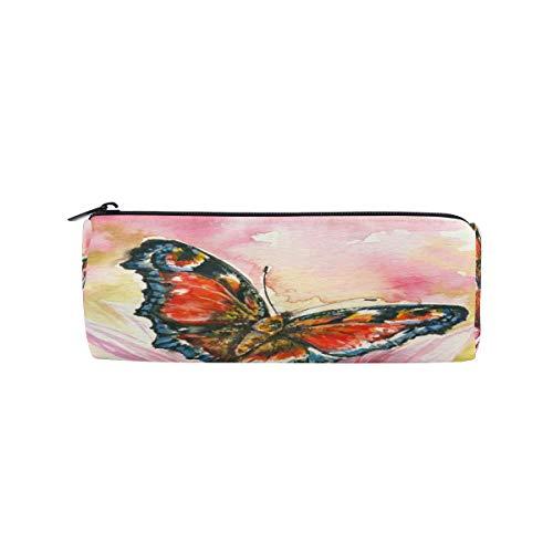 Crayon Sac Stylo Etui Pochette Beau Papillon Et Maquillage Fleur Cosmétique Ronde pour Filles Garçons École De Voyage