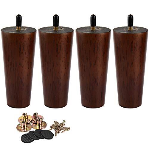 15cm Holz Tischbeine, La Vane 4 Stück Dunkle Walnuss Massivholz Konisch Ersatz Möbelfüße Möbelbeine mit vorgebohrten M8 5/16