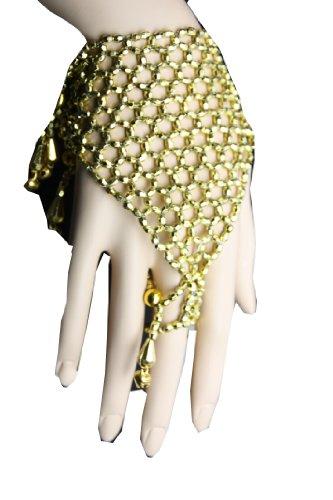 Handschmuck Sklavenarmband Bauchtanz Bollywood Schmuck Karneval Fasching Orient in Gold Farbe