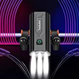 2021 Newest 5000 Lumens Super Bright 3LED Bike Lights Front and Back,Powerful USB Rechargeable Bicycle Headlight-9 Modes Runtime 15+ Hours,Waterproof Bike Headlight Taillight for Cycling Road Mountain