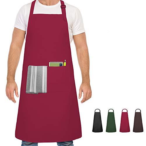 Devlop Tablier, Tablier de Cuisine étanche avec Poches, Tablier de Cuisine réglable, Tablier de Barbecue, Tablier à bavette, Tablier de Cuisine de qualité Professionnelle, 65 x 80 cm (Vin Rouge)