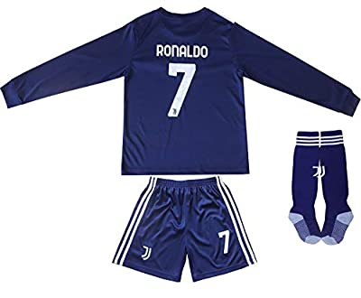 FCRM 2020/2021 New #7 Cristiano Ronaldo Kids Long Sleeve Soccer Jersey & Shorts Youth Sizes (Navy, 24 (6-7 Years))