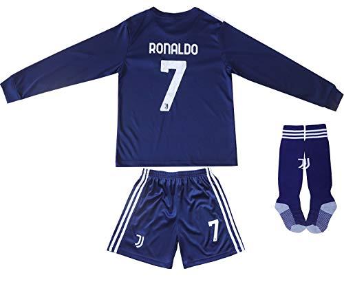 FCRM 2020/2021 New #7 Cristiano Ronaldo Kids Long Sleeve Soccer Jersey & Shorts Youth Sizes (Navy, 24 (6-7 Years))