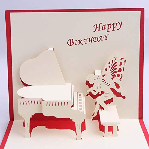 BC Worldwide Ltd handgemachte 3D-Pop-up-Karte Happy Birthday Klavier Fee Schmetterling Engel Flügel Musik Fan bester Freund Partner Papercraft Laser geschnitten Origami Kirigami