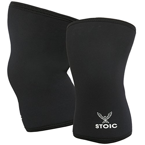 Knee Sleeves for Powerlifting - 7mm Thick Neoprene Sleeve for Bodybuilding, Weight Lifting Best for Squats, Cross Training, Strongman Professional Quality & Ultra Heavy Duty (Pair) by Stoic (Small)