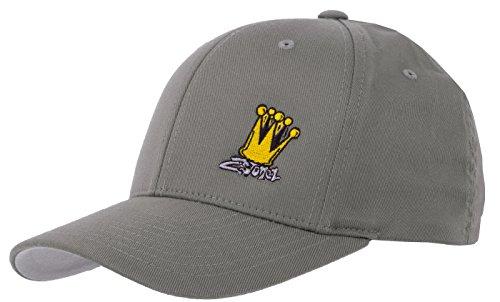2Stoned Flexfit Cap in Grau mit Stick Crown Größe S/M (56cm - 58cm), Basecap für Damen und Herren