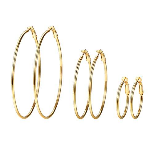 PROSTEEL 3er Ohrringe Set für Damen Edelstahl Creolen Huggie Kreolen Ohrringe Hoop Klappcreolen Ohrschmuck 30mm 50mm 70mm 3 Größe Set, gold