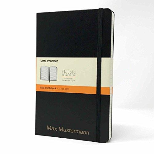 Taccuino con copertina rigida di Moleskine grande nero | Personalizzato con Nome o testo | Rigatura A Righe