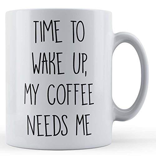 Grappige mok koffie liefhebber, tijd om wakker te worden, mijn koffie heeft me nodig - gift mok door vader vos