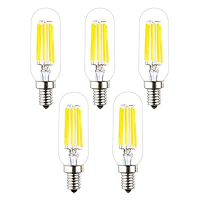 OPALRAY T8/T25 LED Small Tube Bulb, 6W Dimmable, High Bright 6000K Cool White Light Color, 60W Incandescent Equivalent, E12 Candelabra Bulb Base, Clear Glass Tubular Tip, 5-Pack