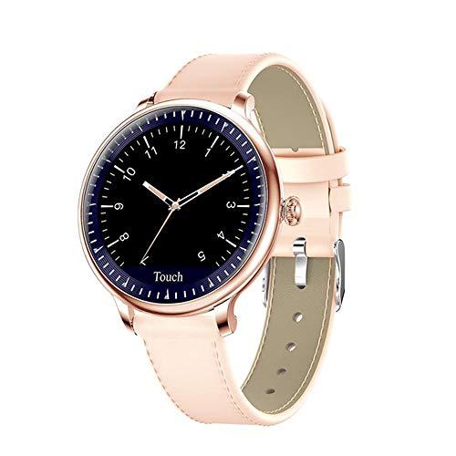 YHML Smart Watch Herzfrequenz-Blutdruckmessgerät Physiologische Reminder Übung IP67 wasserdichte Damen Herren Smartwatch,Gold Leather