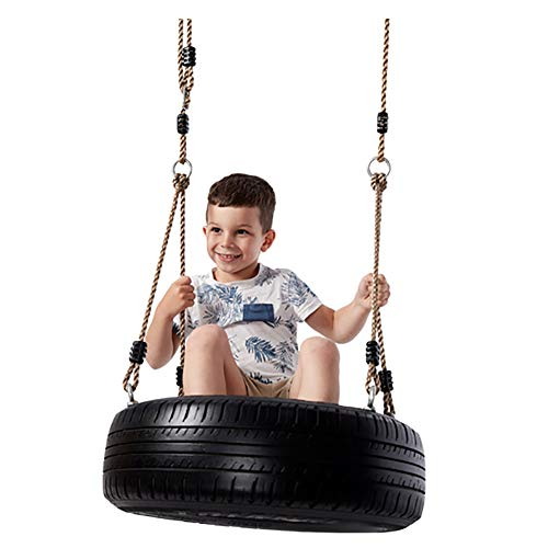 ROCK1ON Rubber Tire Swing for Kids & Adults Indoor Outdoor Garden Backyard Patio Swing Set for Tree Playground Playroom 330 lbs Capacity with PE Rope,B