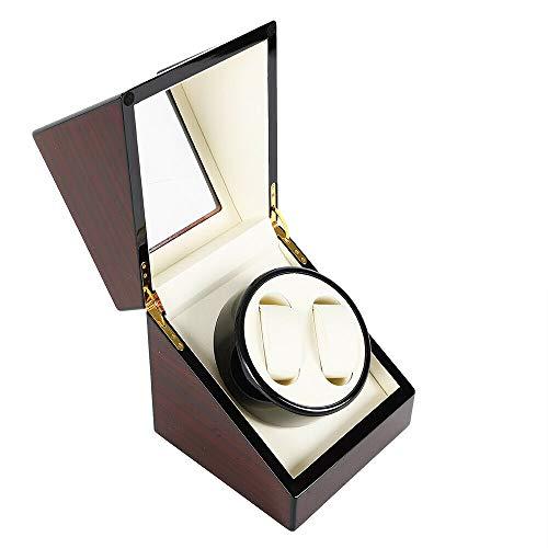 Doppel Uhrenbeweger, automatische Uhrenbeweger mit japanischen Mabuchi Motor Holz rotierenden Uhren Display Aufbewahrungskoffer Box