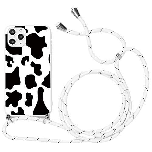 """Yoedge Funda con Cuerda para iPhone 11-6.1"""", Funda de Silicona Antideslizante Suave TPU para Teléfono Móvil con Colgante Ajustable Collar Correa para el Cuello Cadena Cuerda, Vacas"""
