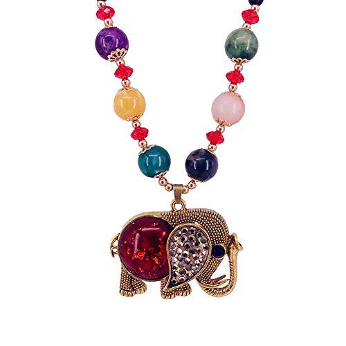GuDeKe Diamante con Cuentas Colgante Boho Collar Largo Joyas para Mujer (Elefante)