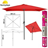 QUERI Parasol RECTANGULAIRE 3X2M Grand ALU INCLINABLE MANIVELLE Rouge Groseille