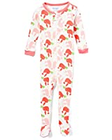 Elowel Baby Girls Footed Pink Birds Pajama Sleeper 100% Cotton Size 18-24 Months