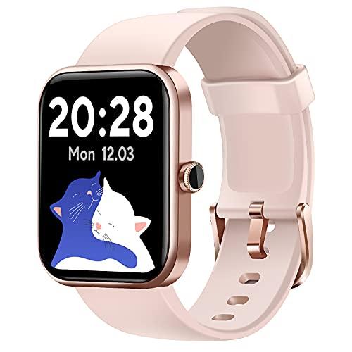 "CUBOT Smartwatch, 1.7"" Pantalla táctil, Fitness Tracker con Alexa, oxímetro de Pulso(SpO2), Monitor de frecuencia cardíaca y de sueño, Reloj Inteligente Deportivo Impermeable 5ATM con podómetro,Rosa"