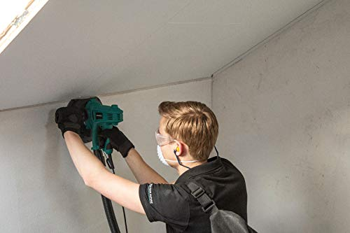 VONROC Ponceuse excentrique murale 750W - pour plafonds et murs - 180 mm de diamètre - Soft Start - Constant Speed Electronics - tuyau et sac de poussières inclus