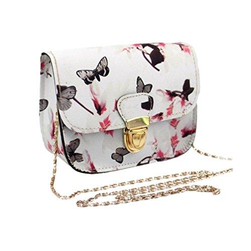 Damenhandtaschen Ronamick Frauen Schmetterling Blumen druck Handtasche Schultertasche Tote Messenger Bag Henkeltasche HandtascheTasche Henkeltasche Umhängetasche Schultertasche (Weiß)