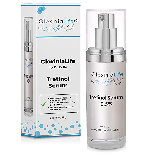 GloxiniaLife by Dr. Calle Tretinol 0.50% Serum- Acne and Acne Scar Treatment- Anti Aging, Fine Line and Wrinkle Repair for Face & Under Eye- Skin Lightening with Retinol 0.50%, Vitamin C & E, 1 oz
