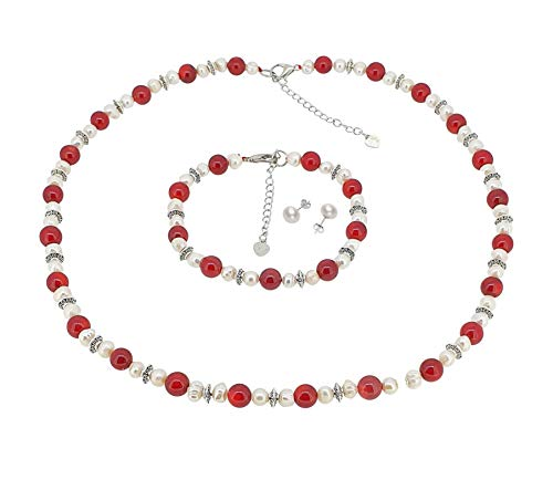 TreasureBay Elegant Red Coral and White Freshwater Pearl Necklace Bracelet and Earrings Set