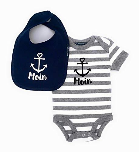 Maritimes Baby-Set Moin mit Anker - Fair Trade - Babystrampler Moin + Baby Lätzchen Moin, Set Moin Anker von ebbeundflut