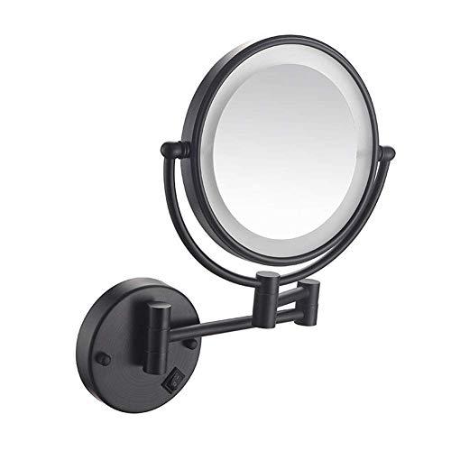 hyywmgx Espejo de tocador, 8 Pulgadas, luz LED, Montaje en Pared, Extensible, Plegable, de Doble Cara, Espejo de Maquillaje, 3 aumentos, baño, Afeitado, Acabado en Bronce Cromado (Color