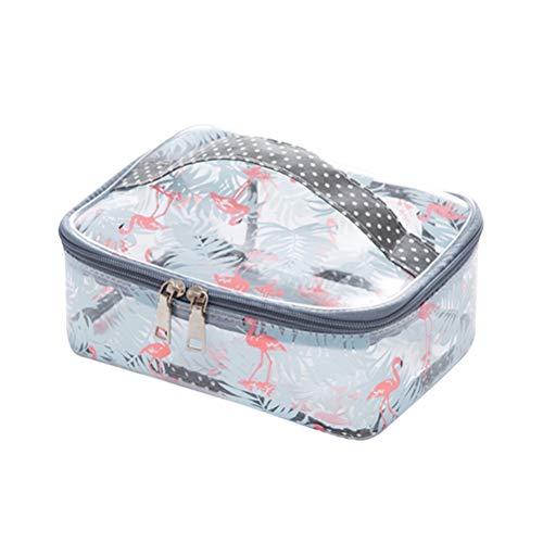 Lurrose Sac à cosmétiques transparent Motif Flamingo Imperméable Carré Sac de rangement pour maquillage Trousse de toilette transparente Taille L