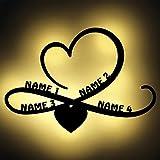 Persönliche Geschenke Familien-Geschenke Unendlich-Zeichen Family mit 4 Namen Personen personalisiert Wohnzimmer LED Deko Licht Lampe Geschenkideen