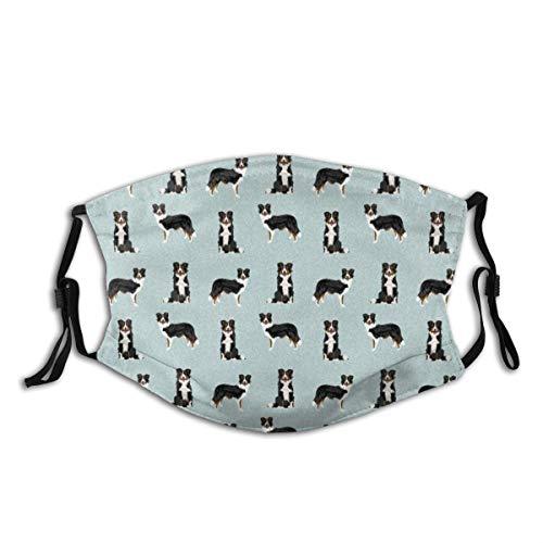 Tricolor Border Collie Hund Haustier dreifarbig Hund Design waschbar Tuch Gesichtsmaske Mode Schutz Bandana Unisex Gesichtsschutz Sturmhaube Schild Wiederverwendbar