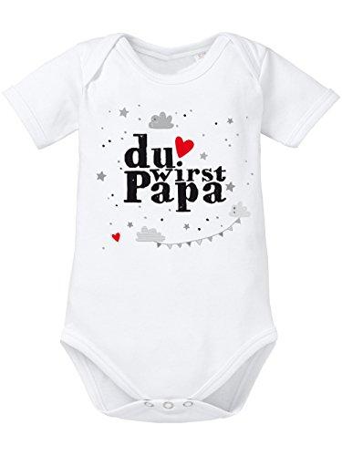 clothinx Baby-Body Bio Geburt Du wirst Papa Weiß/Grau Größe 50-56
