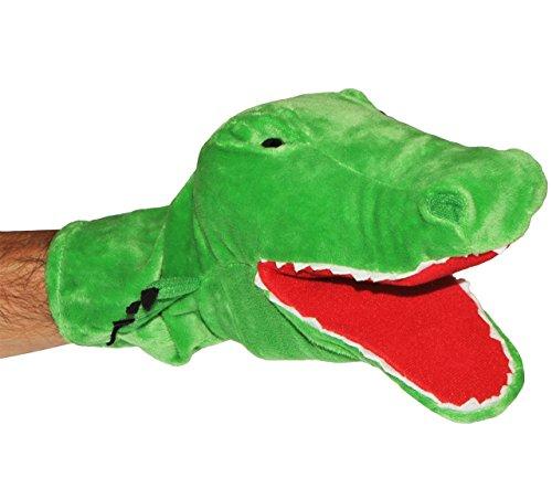 alles-meine.de GmbH Handpuppe -  lustiges Krokodil  - Mund bespielbar - Plüsch Handspielpuppe - groß grüner Alligator / Geschichte - Kuschelkrokodil Leistenkrokodil - Tiere Tie..
